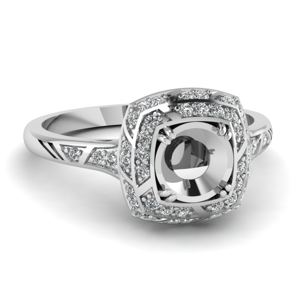 Pave Halo White Gold Ring Mountings