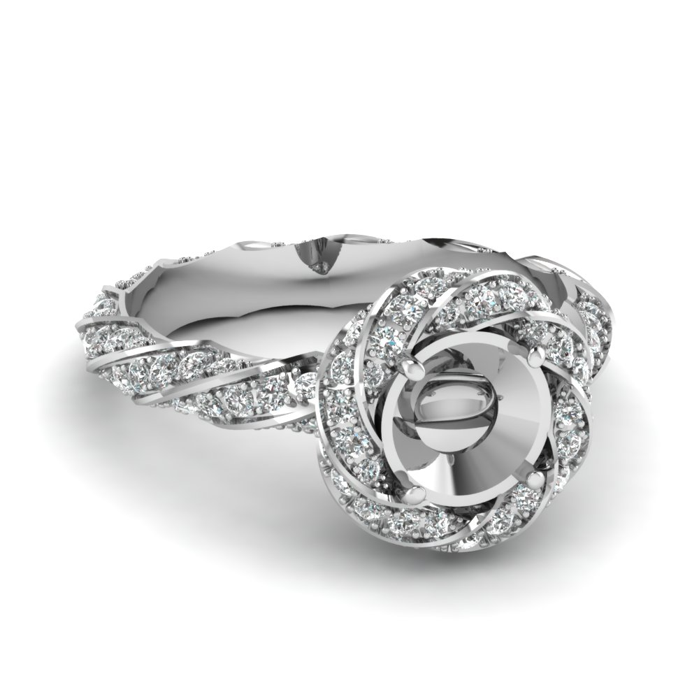 White Gold Twisted Halo Ring Settings