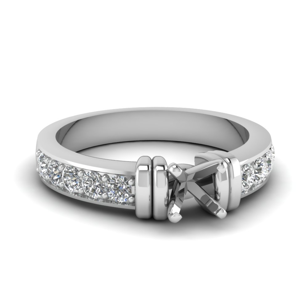 simple bar set semi mount diamond engagement ring in FDENR957SMR Nl WG