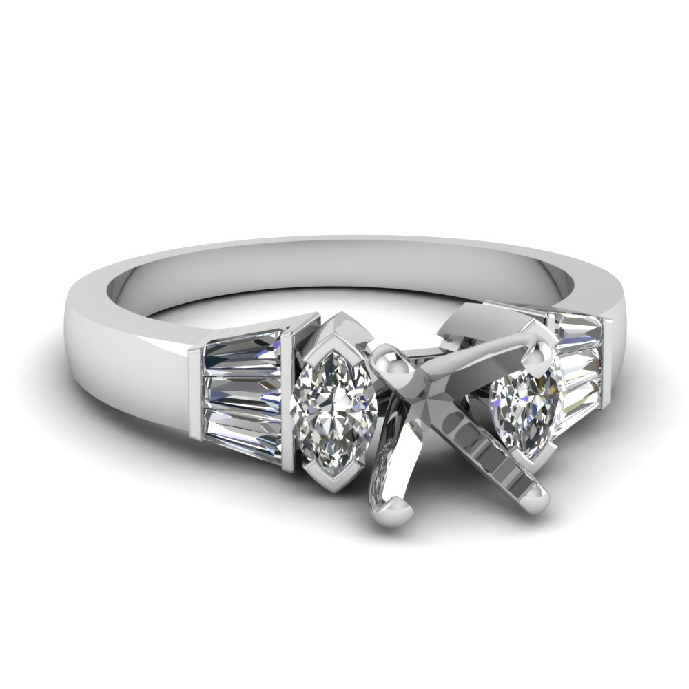 Baguette And Marquise Accented Diamond Engagement Ring Setting