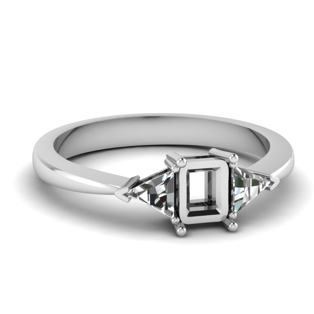 Semi Mount Trillion Cathedral Ring