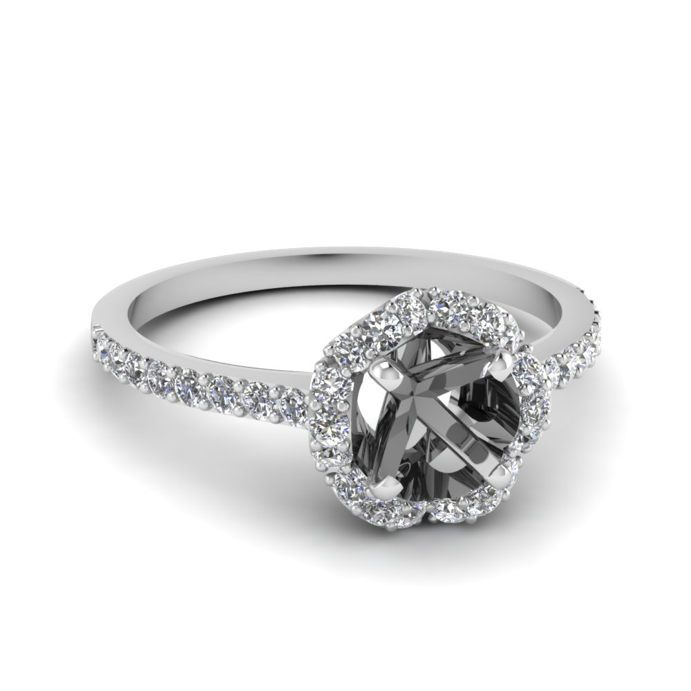 petite flower diamond semi mount engagement ring in FDENS3265SMR NL WG