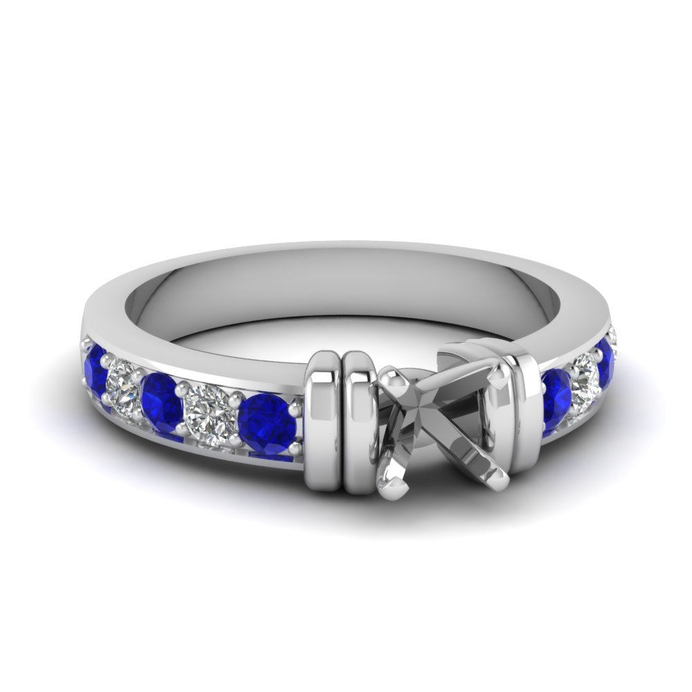 simple bar set semi mount diamond engagement ring with sapphire in FDENR957SMRGSABL Nl WG