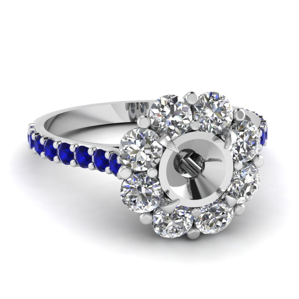 Floral Halo Sapphire Ring Settings