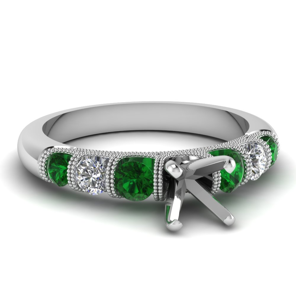 semi mount milgrain prong bar set diamond engagement ring with emerald in FDENS1783SMRGEMGR NL WG