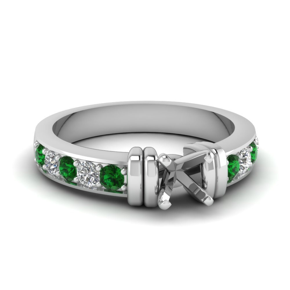 simple bar set semi mount diamond engagement ring with emerald in FDENR957SMRGEMGR Nl WG