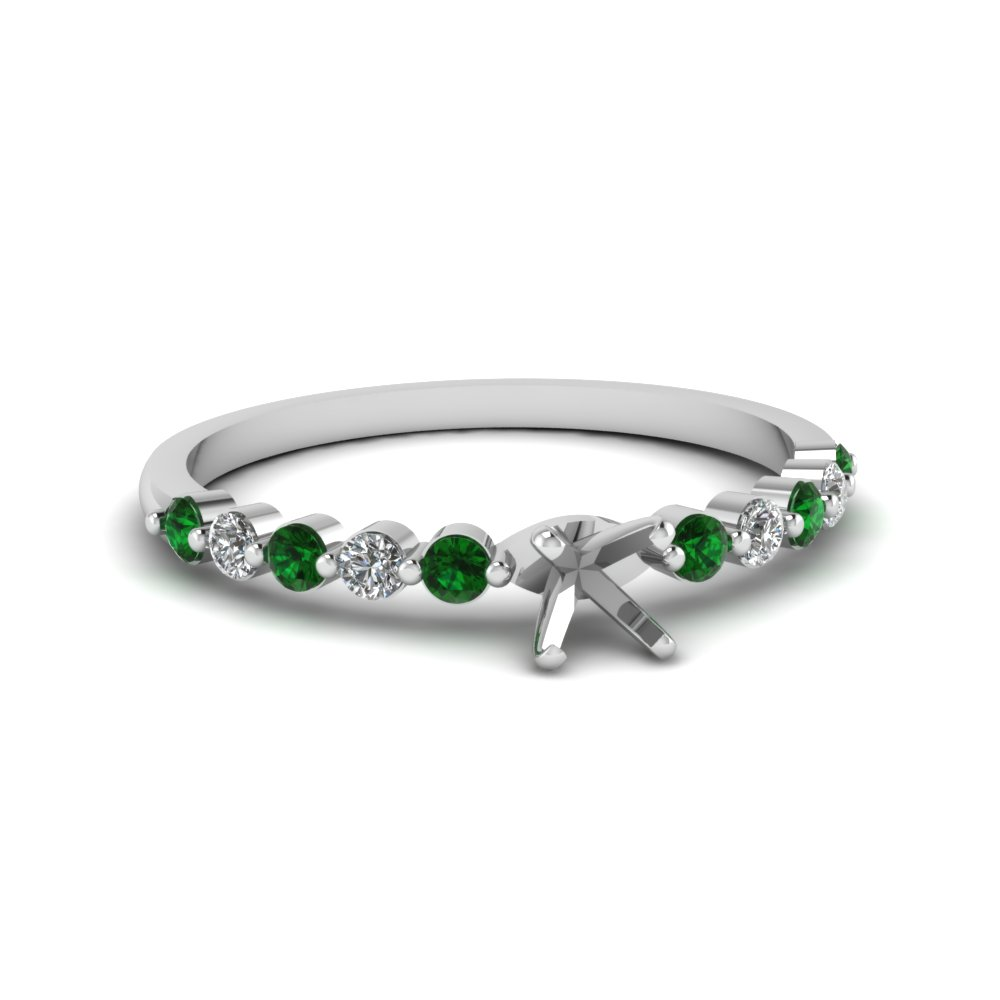 Semi Mount Emerald String Ring