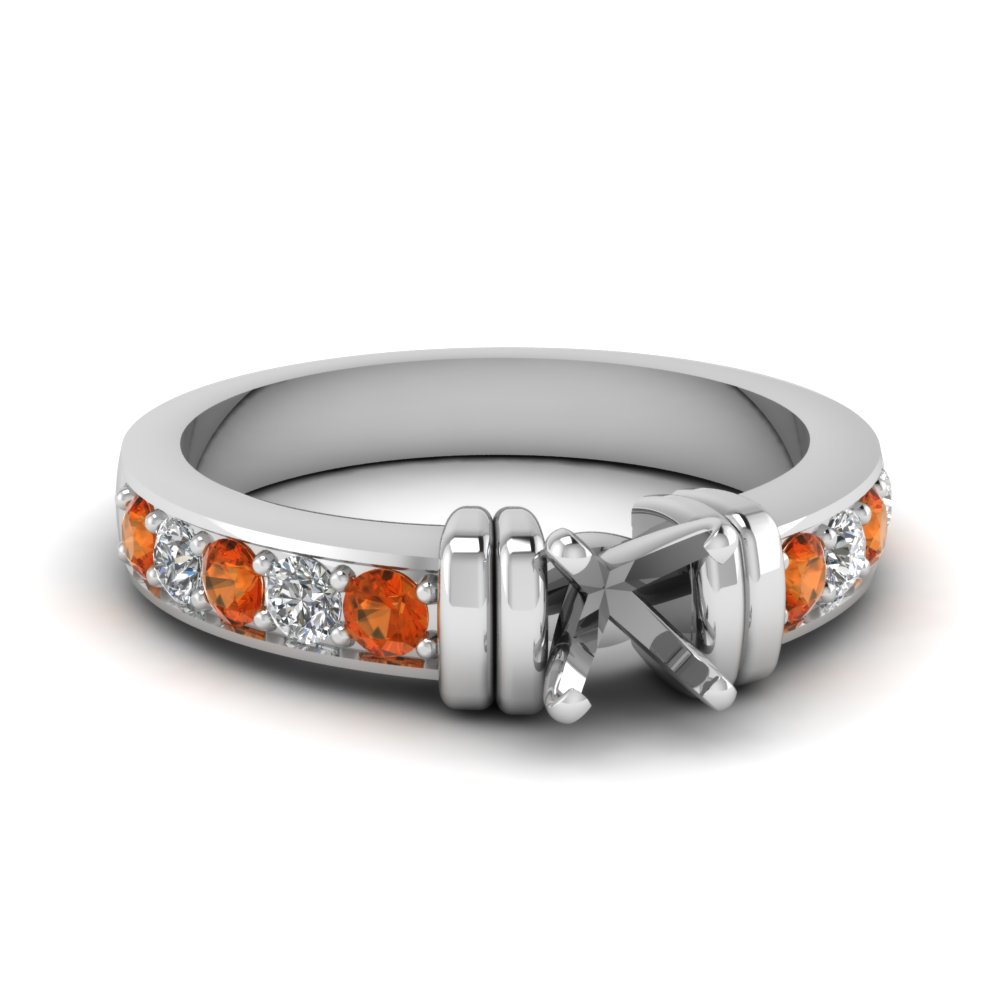 simple bar set semi mount diamond engagement ring with orange sapphire in FDENR957SMRGSAOR Nl WG