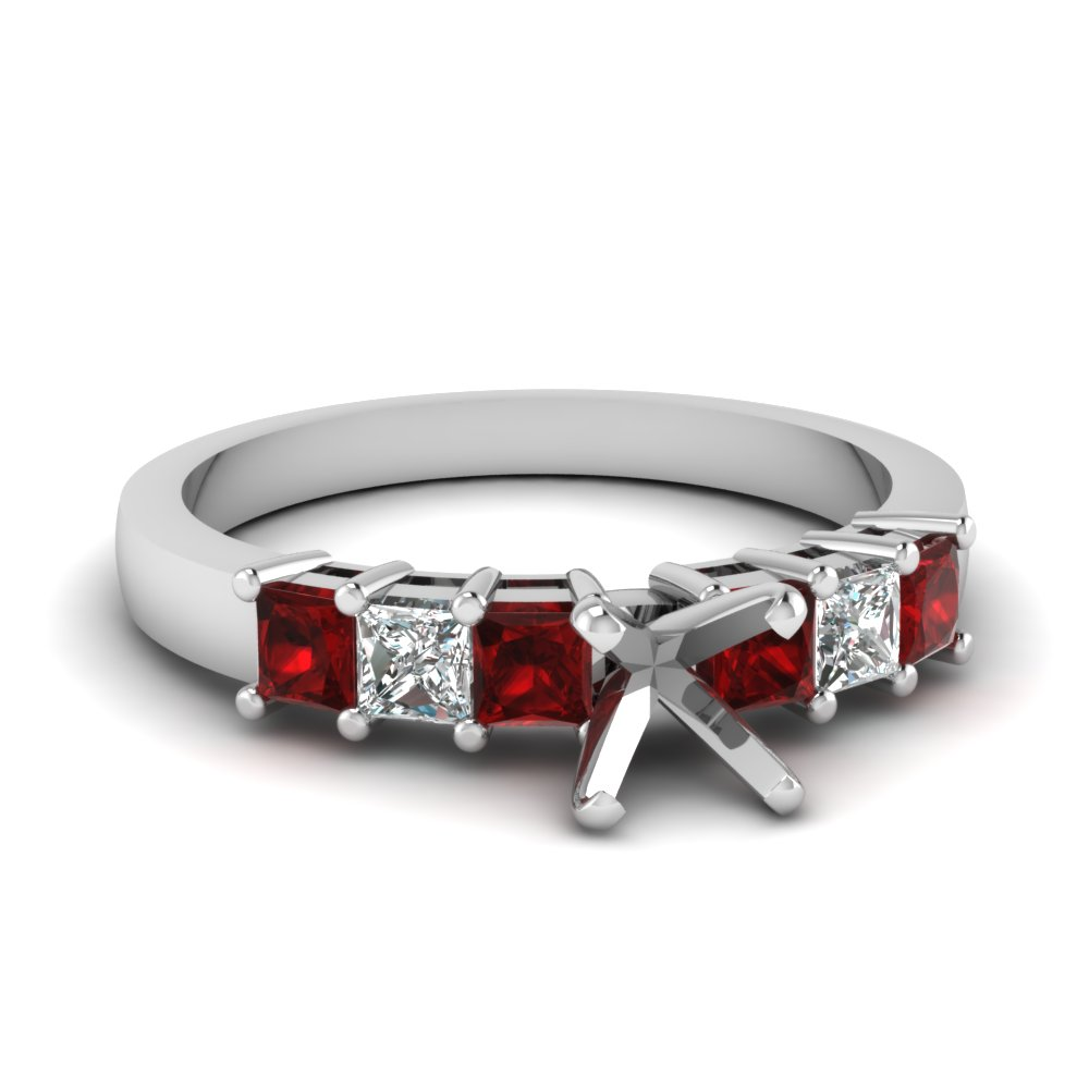 7 stone semi mount diamond engagement ring with ruby in FDENS1027SMRGRUDR NL WG
