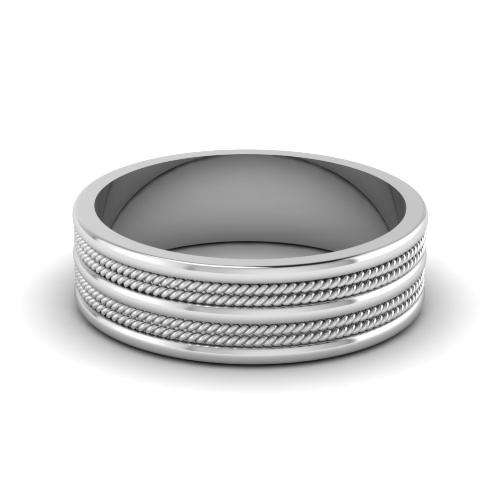 7mm mens twisted wedding ring in FDHM169B NL WG