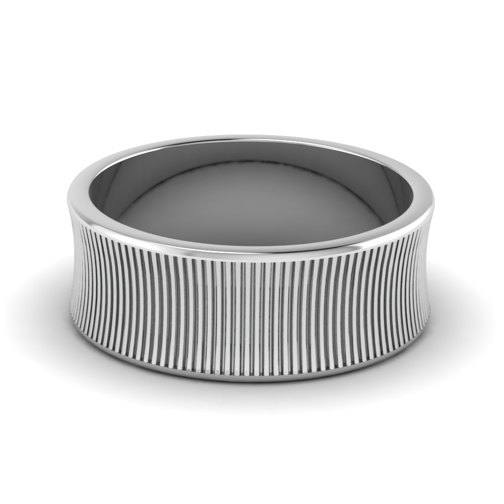 Mens Wedding Band Vertical Lines Engraved