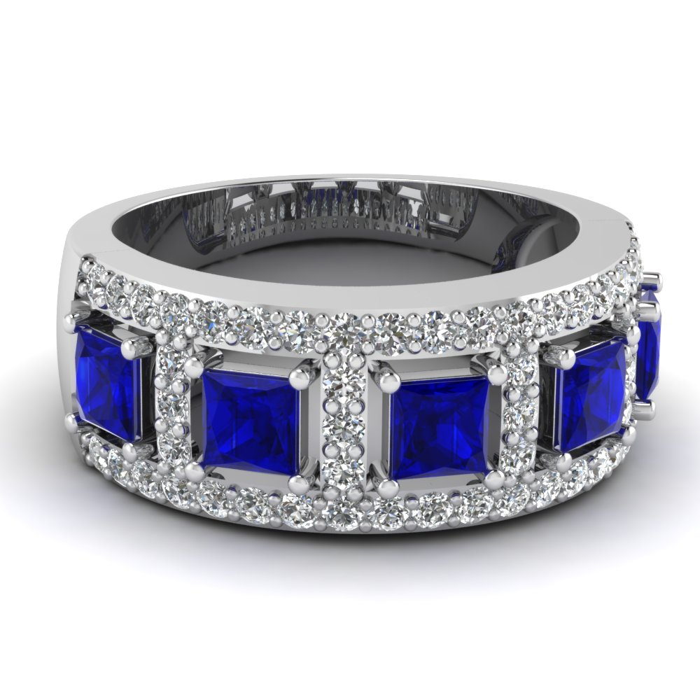 Diamond And Sapphire Anniversary Wedding Band For Women in White Gold