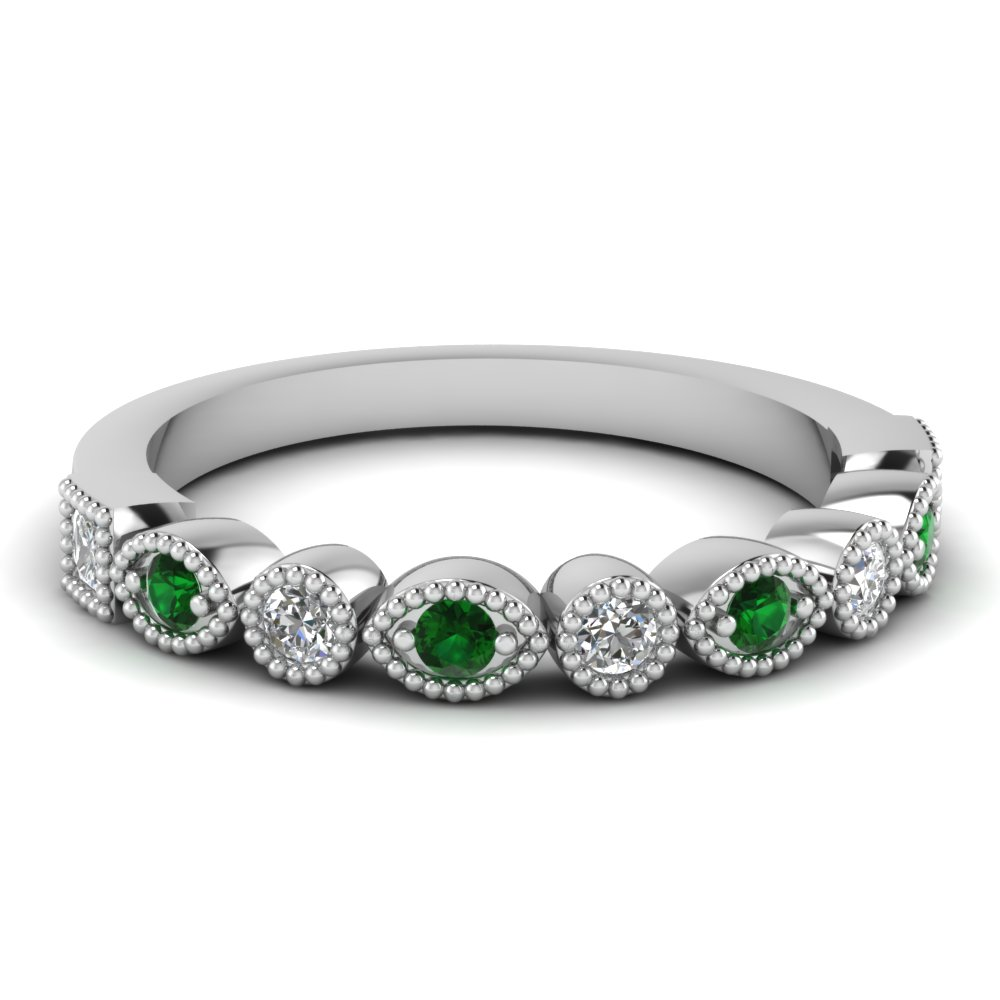 Milgrain Emerald Diamond Band
