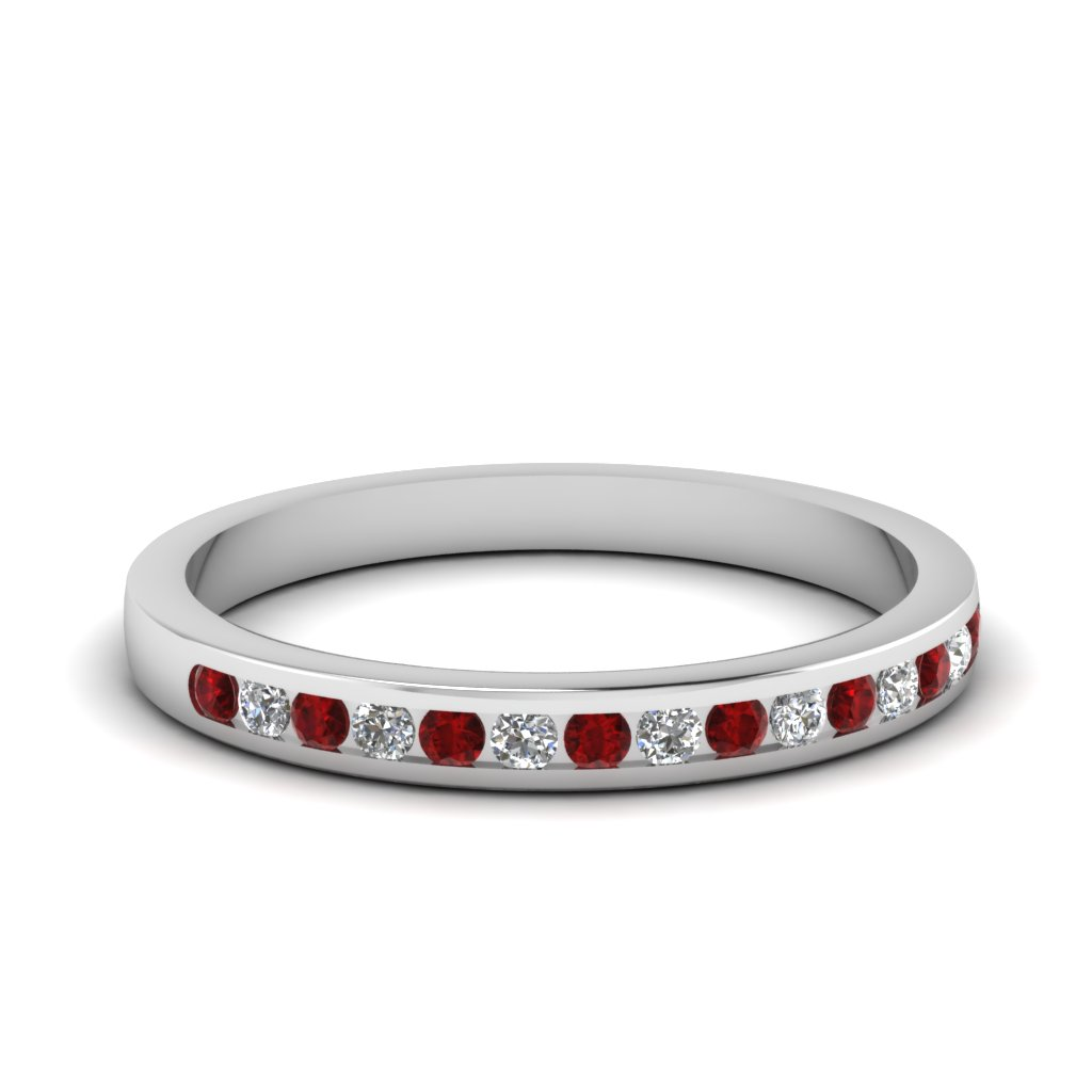 round channel set diamond wedding band with ruby in FD1032BGRUDR NL WG