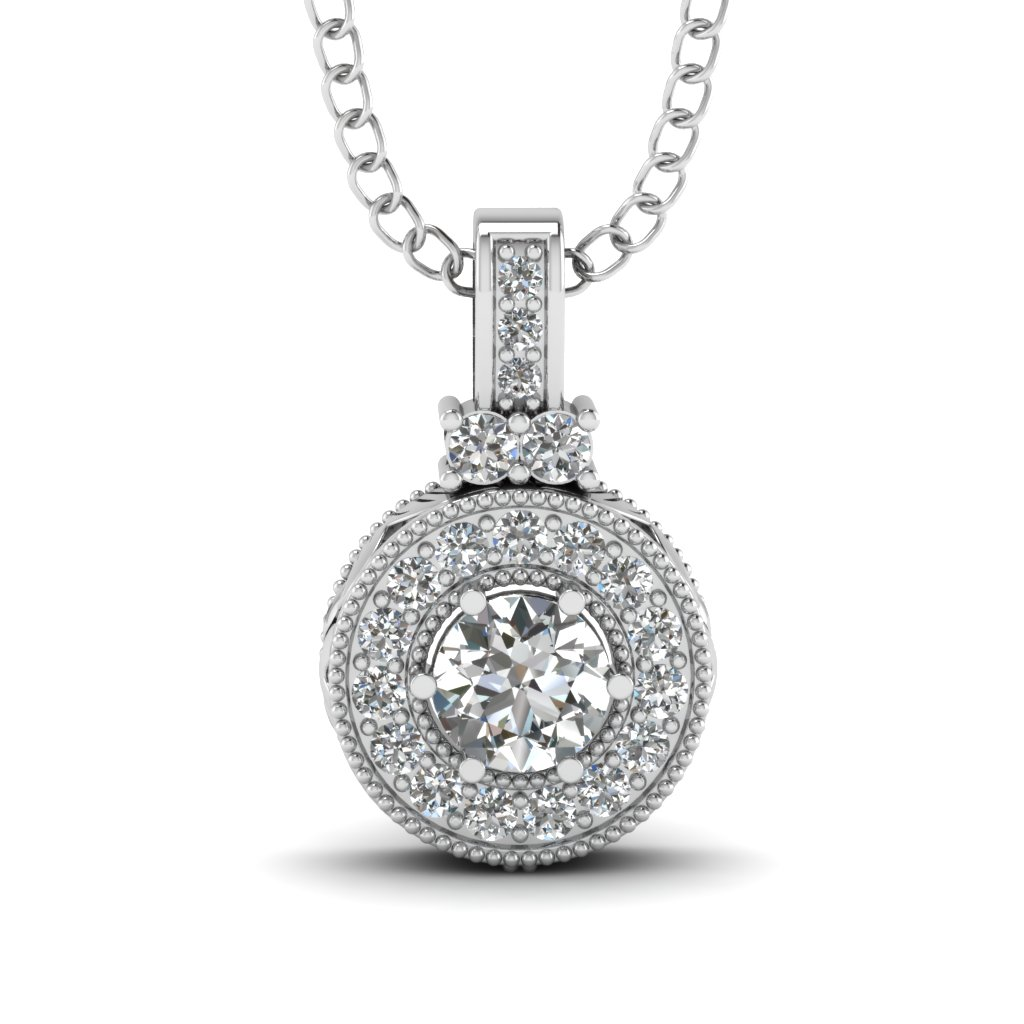 Halo Pave Set Diamond Fancy Pendant