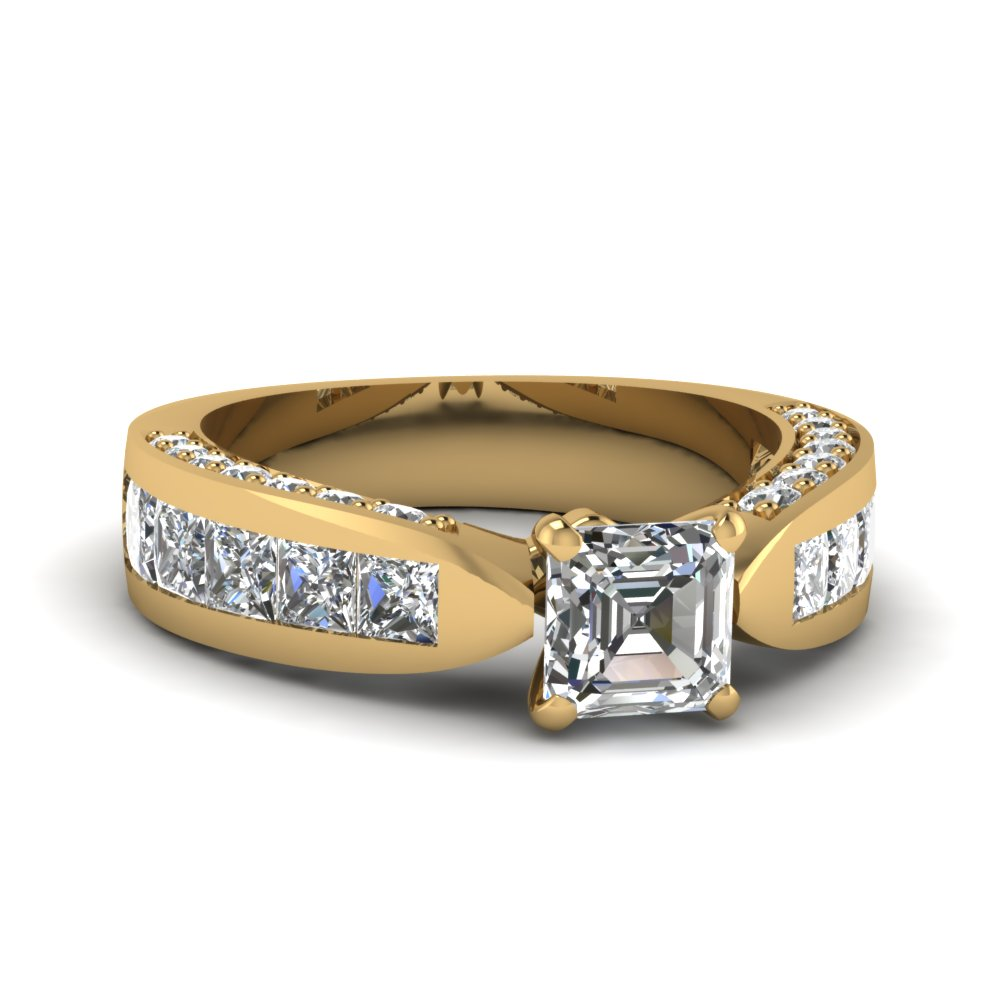 Vintage Cathedral Asscher Diamond Ring