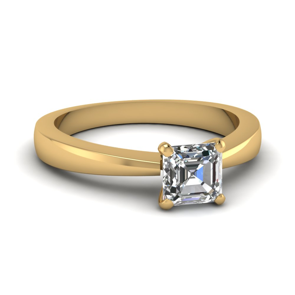 tapered traditional solitaire asscher cut engagement ring in FDENR1282ASR NL YG