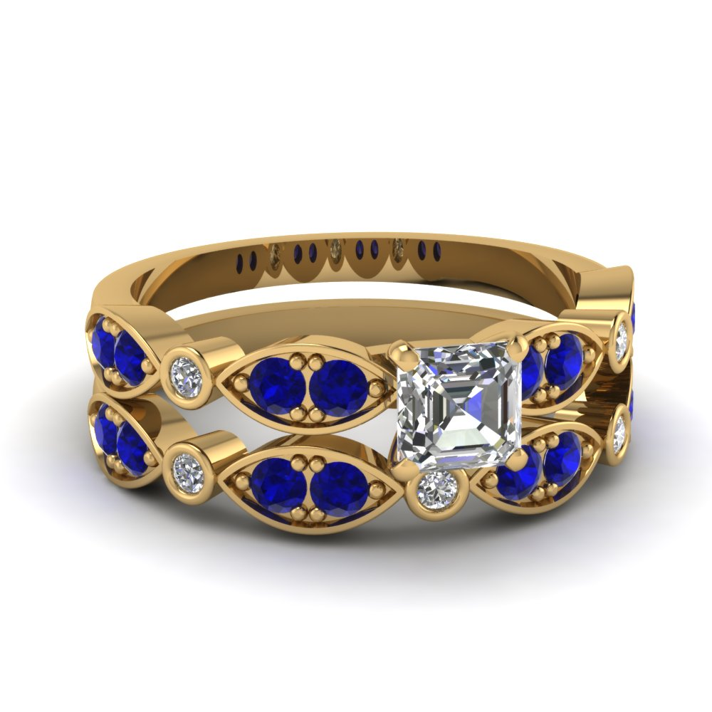 yellow-gold-asscher-white-diamond-engagement-wedding-ring-with-blue-sapphire-in-pave-bezel-set-FDENS2035ASGSABL-NL-YG