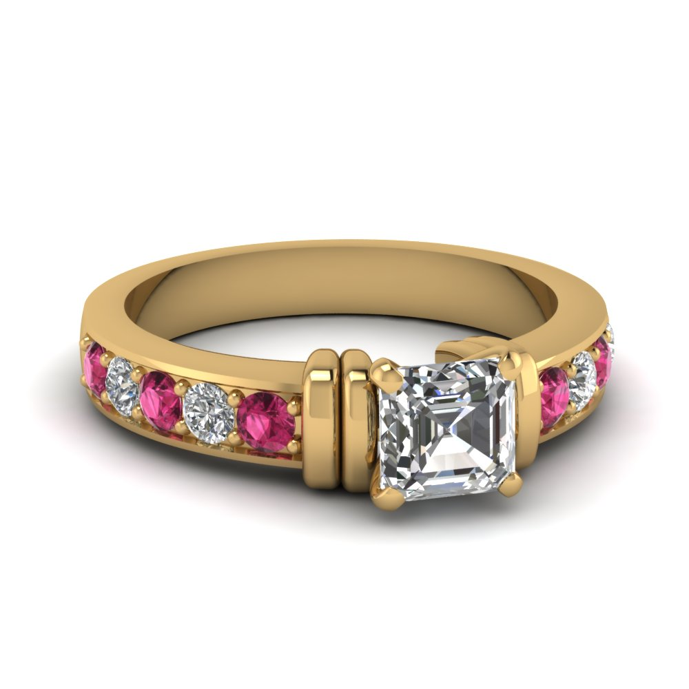 simple bar set asscher lab diamond engagement ring with pink sapphire in FDENR957ASRGSADRPI Nl YG