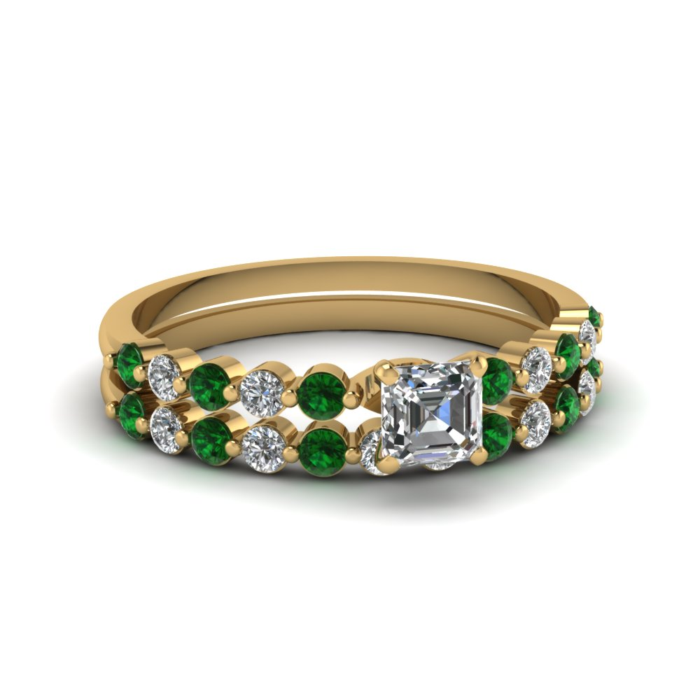 asscher cut floating diamond wedding ring set with emerald in FDENS3023ASGEMGR NL YG.jpg