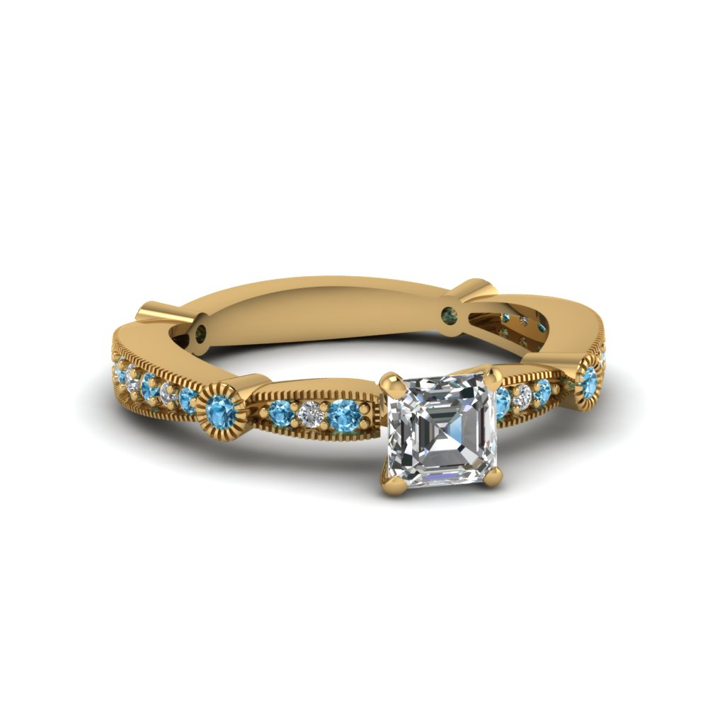 asscher diamond vintage tapered engagement ring with blue topaz in FDENS3026ASRGICBLTO NL YG