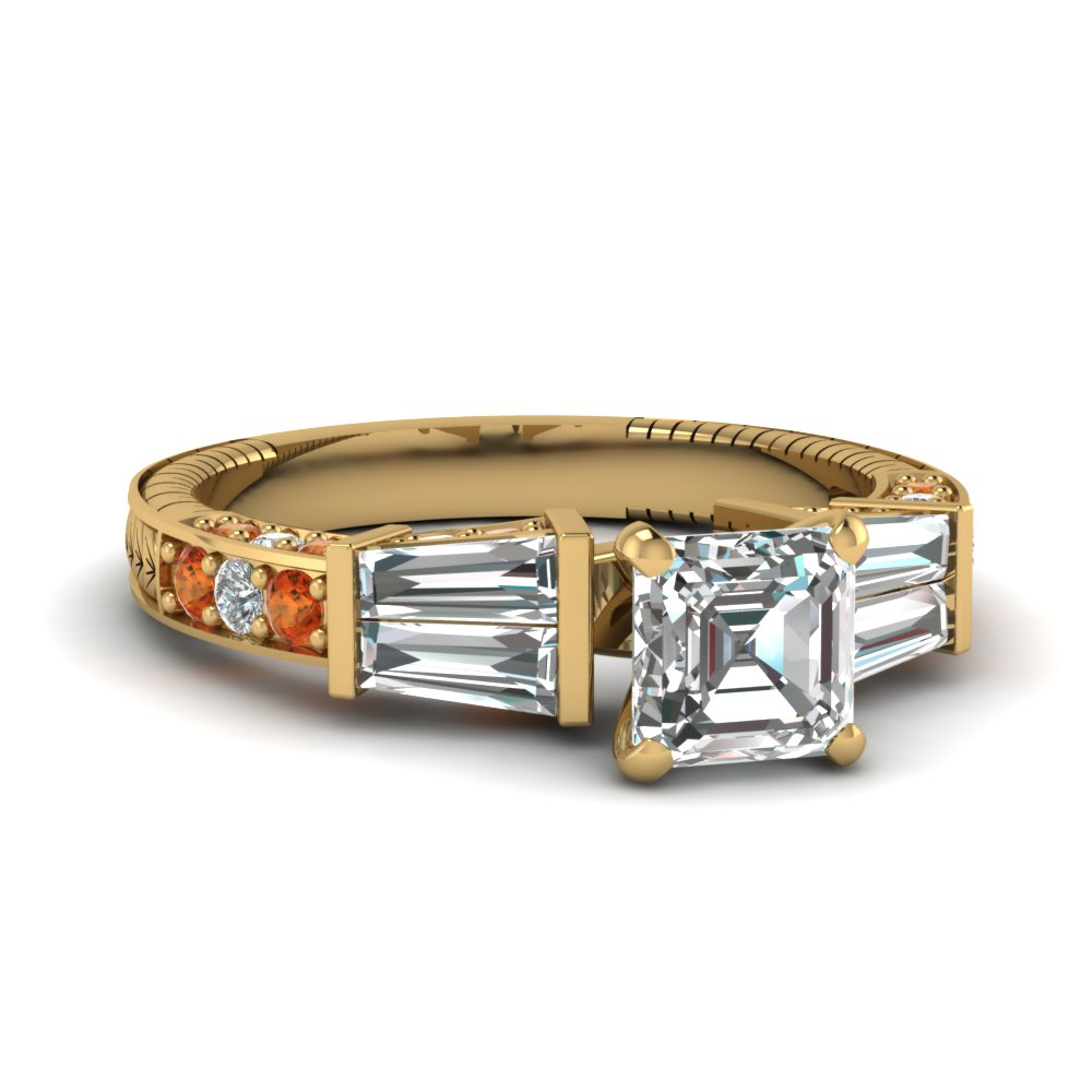 vintage baguette asscher diamond engagement ring with orange sapphire in FDENS318ASRGSAOR NL YG
