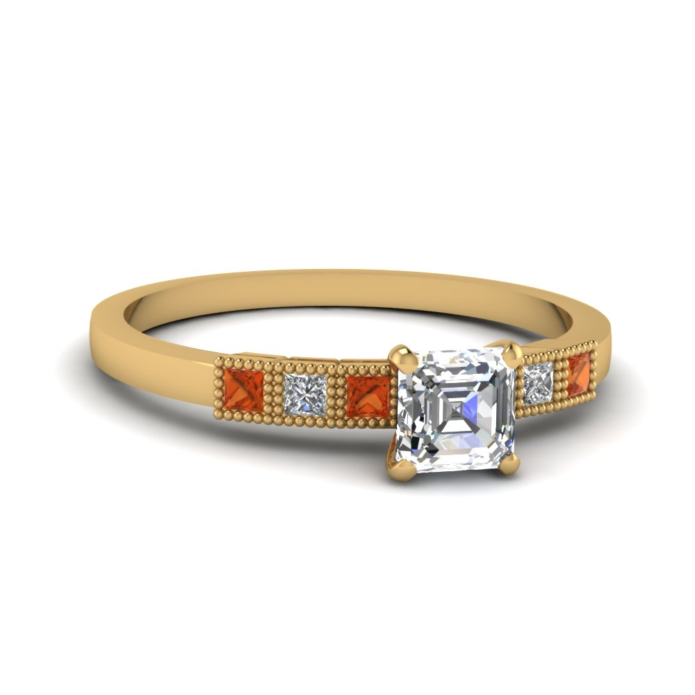 milgrain petite asscher diamond engagement ring with orange sapphire in FDENS3088ASRGSAOR NL YG