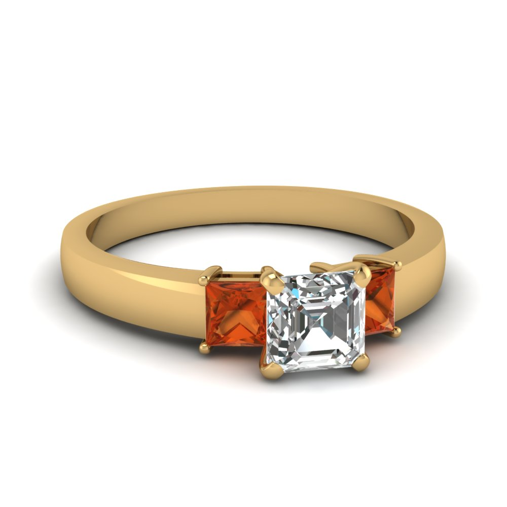 dainty 3 stone asscher cut engagement ring with orange sapphire in FDENS1024ASRGSAOR NL YG