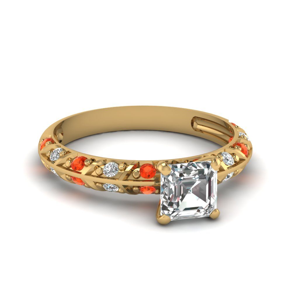 pave knife edge asscher diamond engagement ring with orange topaz in FDENS1477ASRGPOTO NL YG