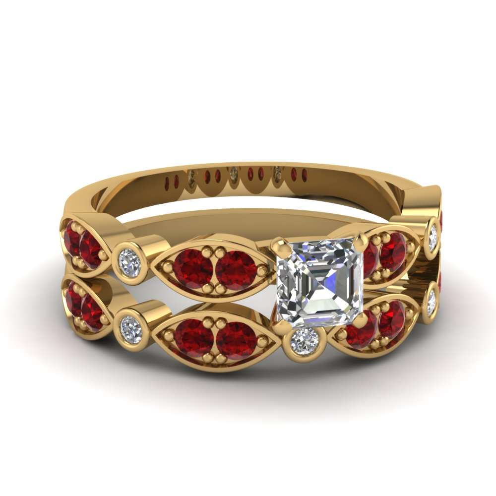 yellow-gold-asscher-white-diamond-engagement-wedding-ring-with-red-ruby-in-pave-bezel-set-FDENS2035ASGRUDR-NL-YG