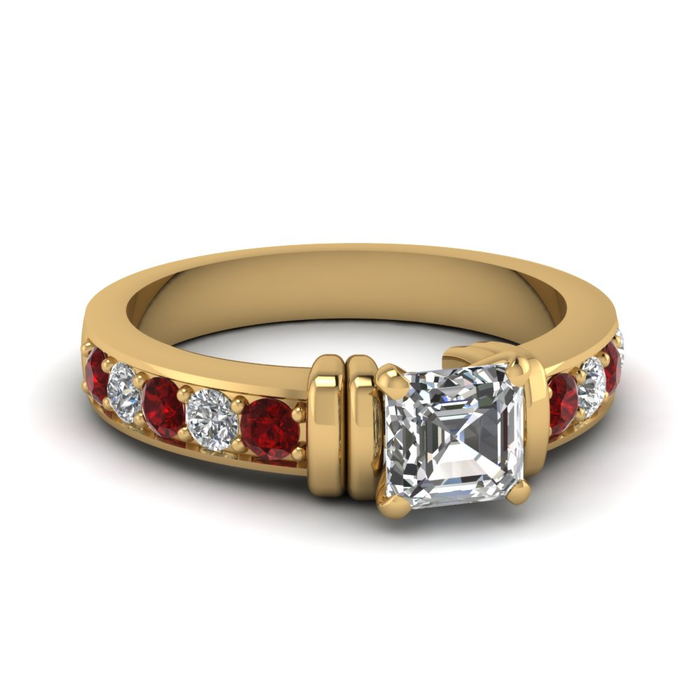 simple bar set asscher diamond engagement ring with ruby in FDENR957ASRGRUDR Nl YG