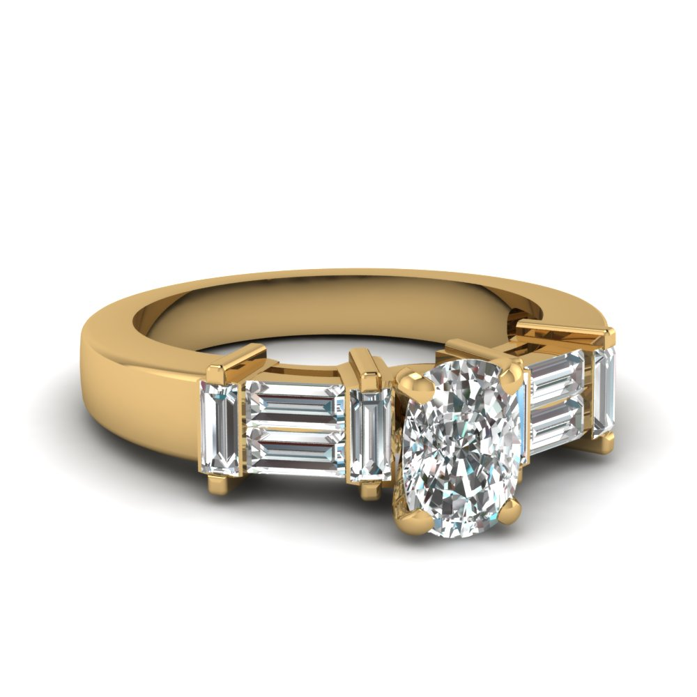 Baguette With Cushion Diamond Ring