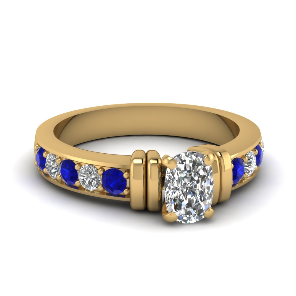 simple bar set cushion diamond engagement ring with sapphire in FDENR957CURGSABL Nl YG