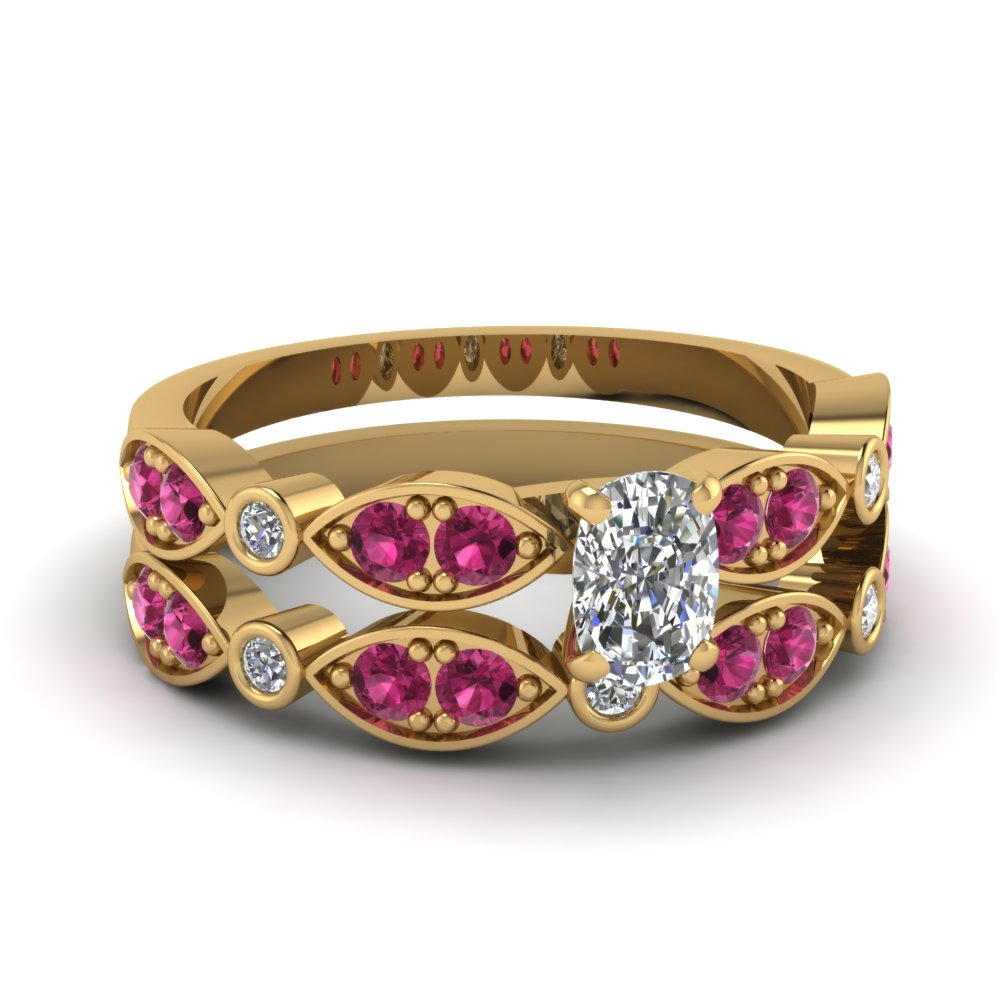 art deco cushion diamond wedding ring set with pink sapphire in FDENS2035CUGSADRPI NL YG