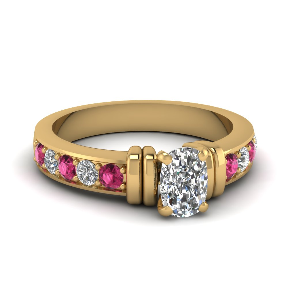 simple bar set cushion moissanite engagement ring with pink sapphire in FDENR957CURGSADRPI Nl YG