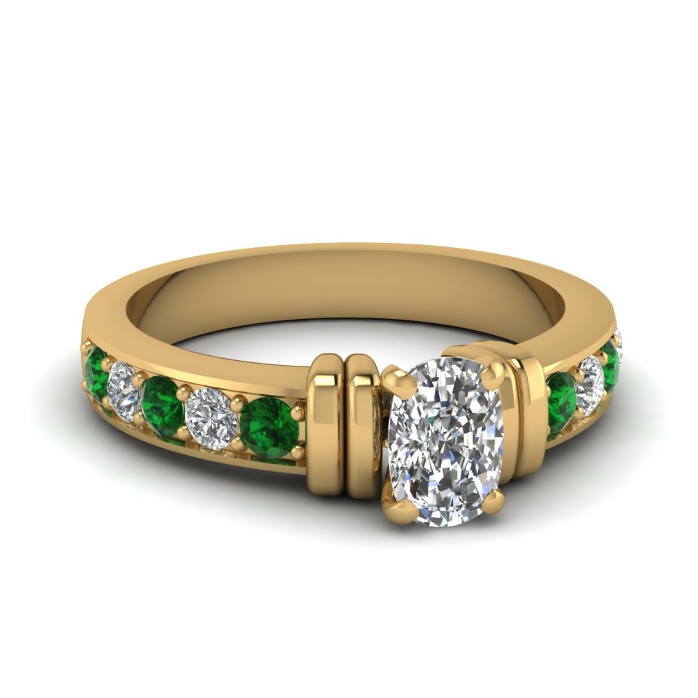simple bar set cushion diamond engagement ring with emerald in FDENR957CURGEMGR Nl YG