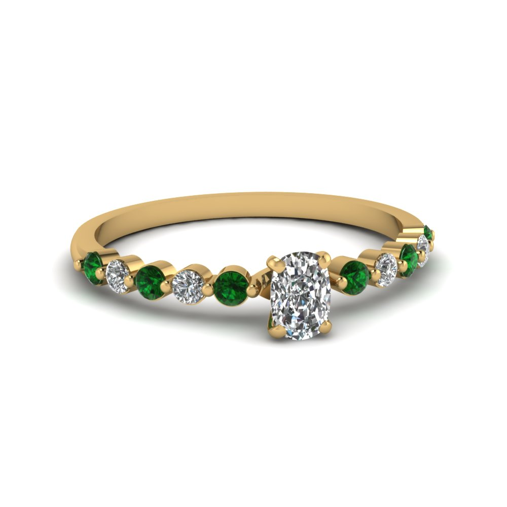 cushion cut petite floating diamond engagement ring with emerald in FDENS3023CURGEMGR NL YG.jpg