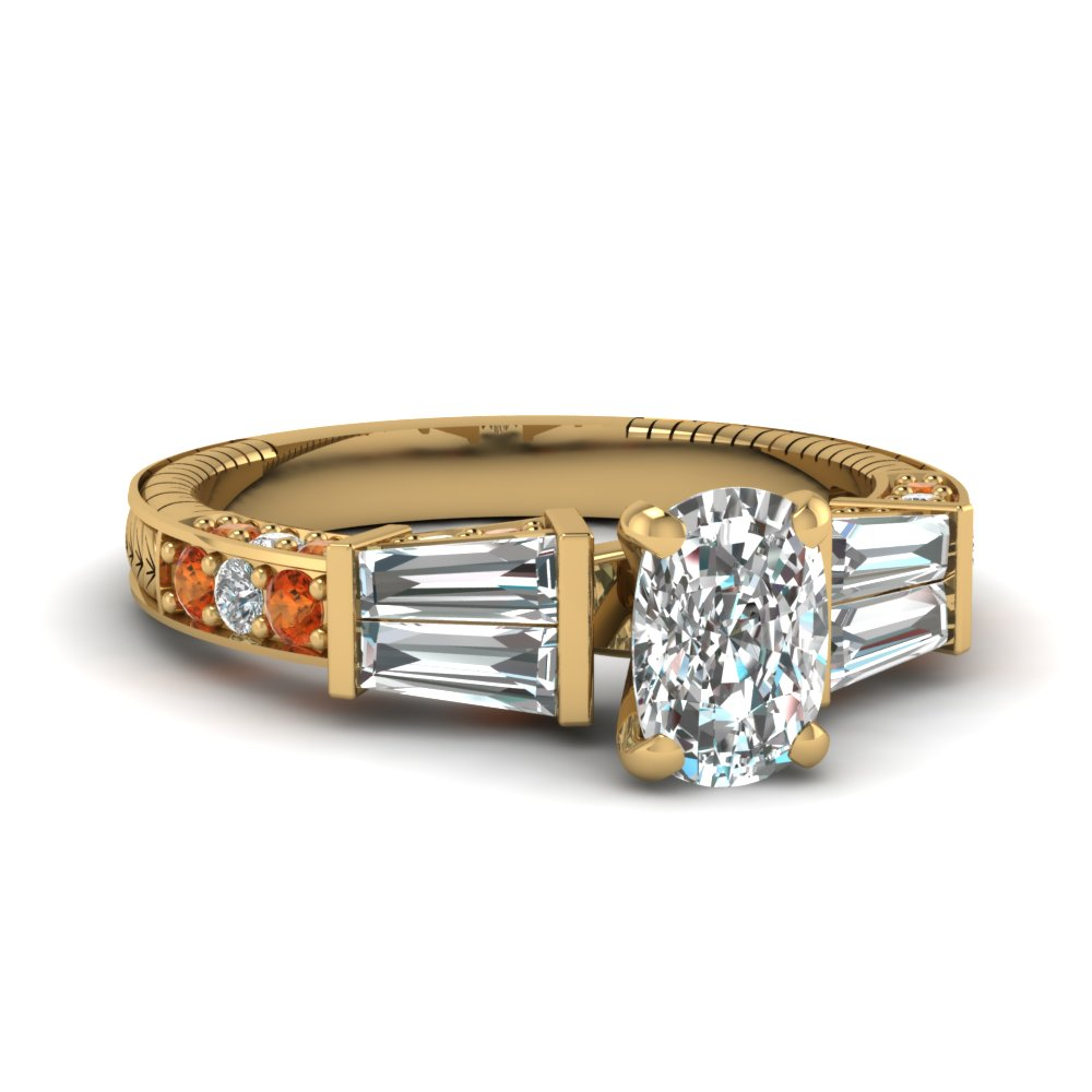 vintage baguette cushion diamond engagement ring with orange sapphire in FDENS318CURGSAOR NL YG