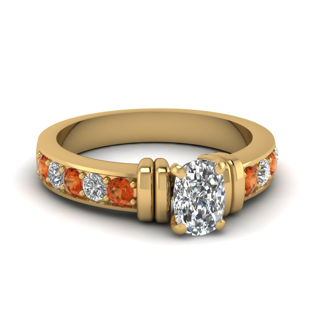 Simple Bar Set Cushion Diamond Engagement Ring With Orange Sapphire In 14K Yellow Gold