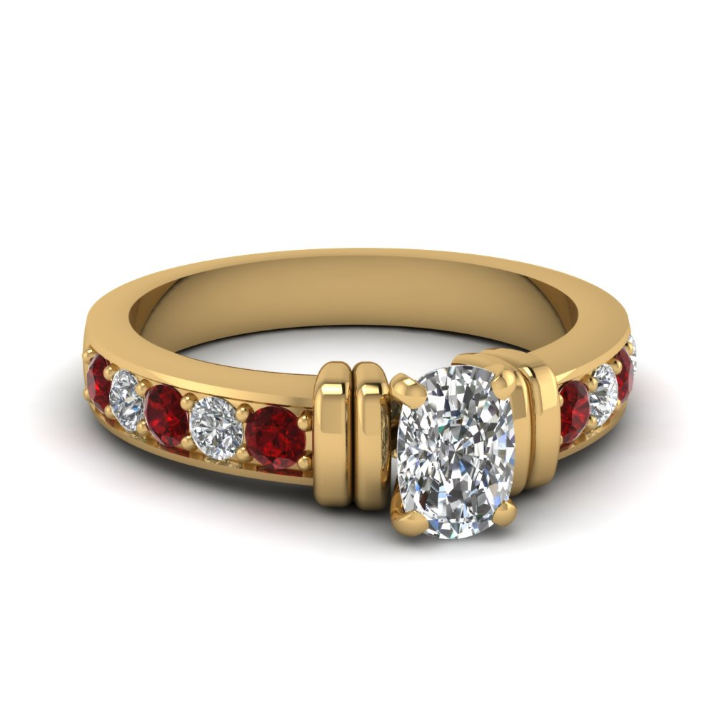 simple bar set cushion diamond engagement ring with ruby in FDENR957CURGRUDR Nl YG