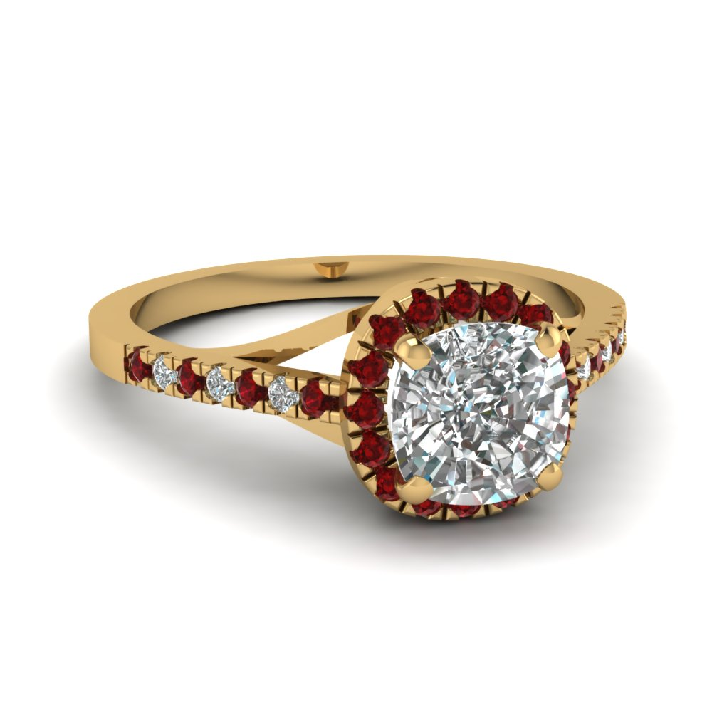 Cushion Ruby Halo Ring