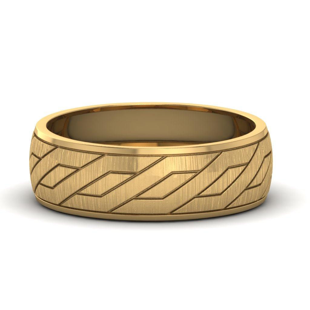 Yellow Gold Diamond Cut Groove Mens Wedding Band