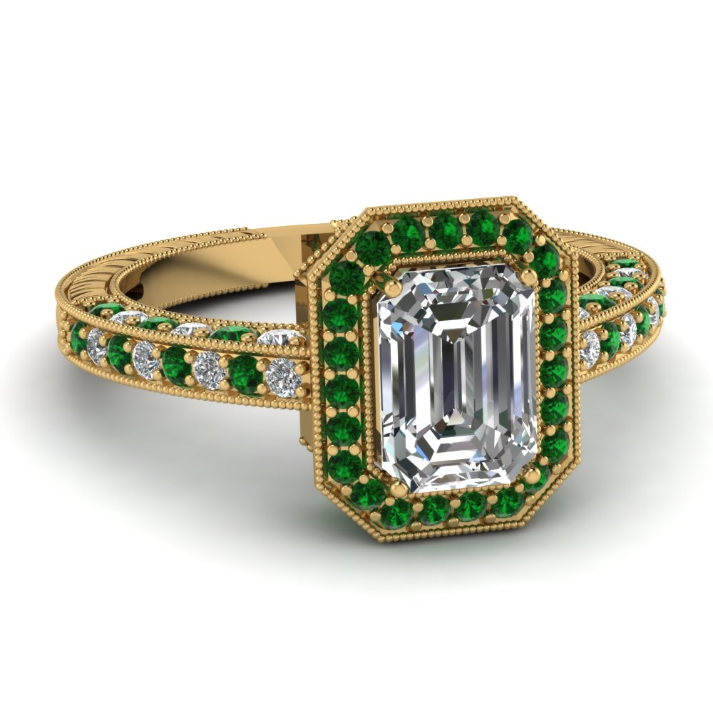 Emerald Cut Diamond Gemstone Ring
