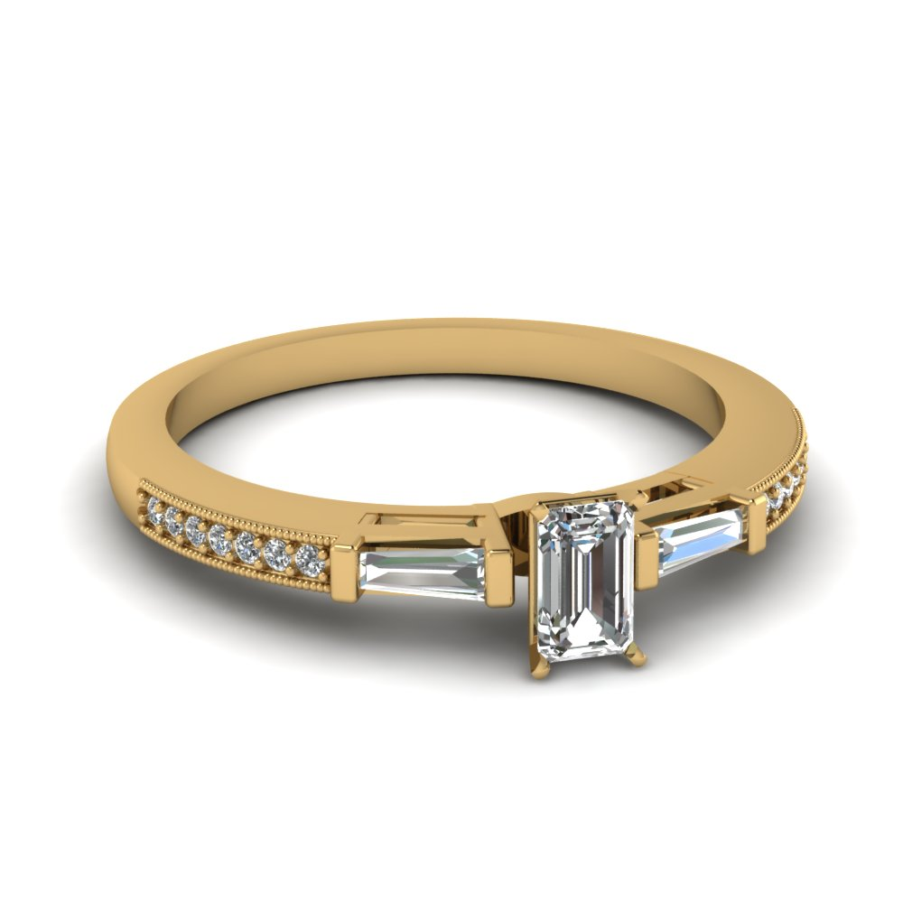 emerald cut engagement ring clearance rings with white diamond in 18k yellow gold - Clearance Wedding Rings