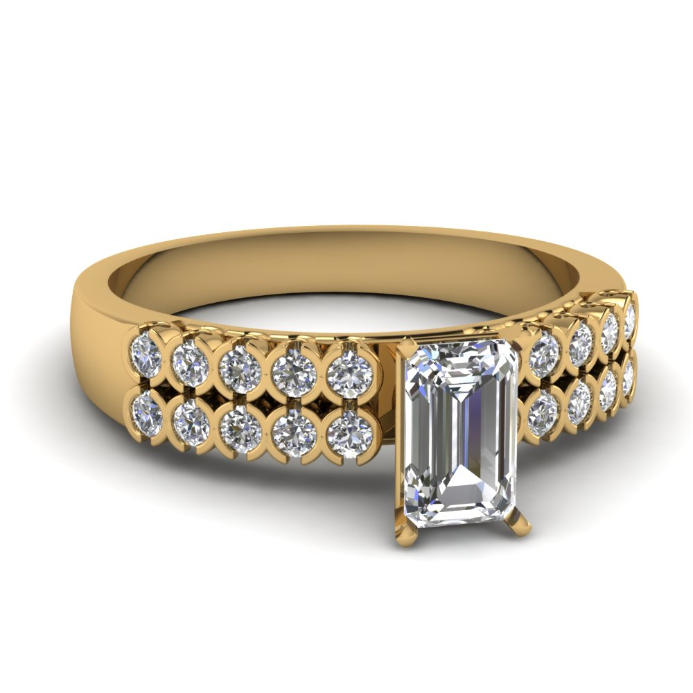 Emerald Cut Side Stone Wide Ring