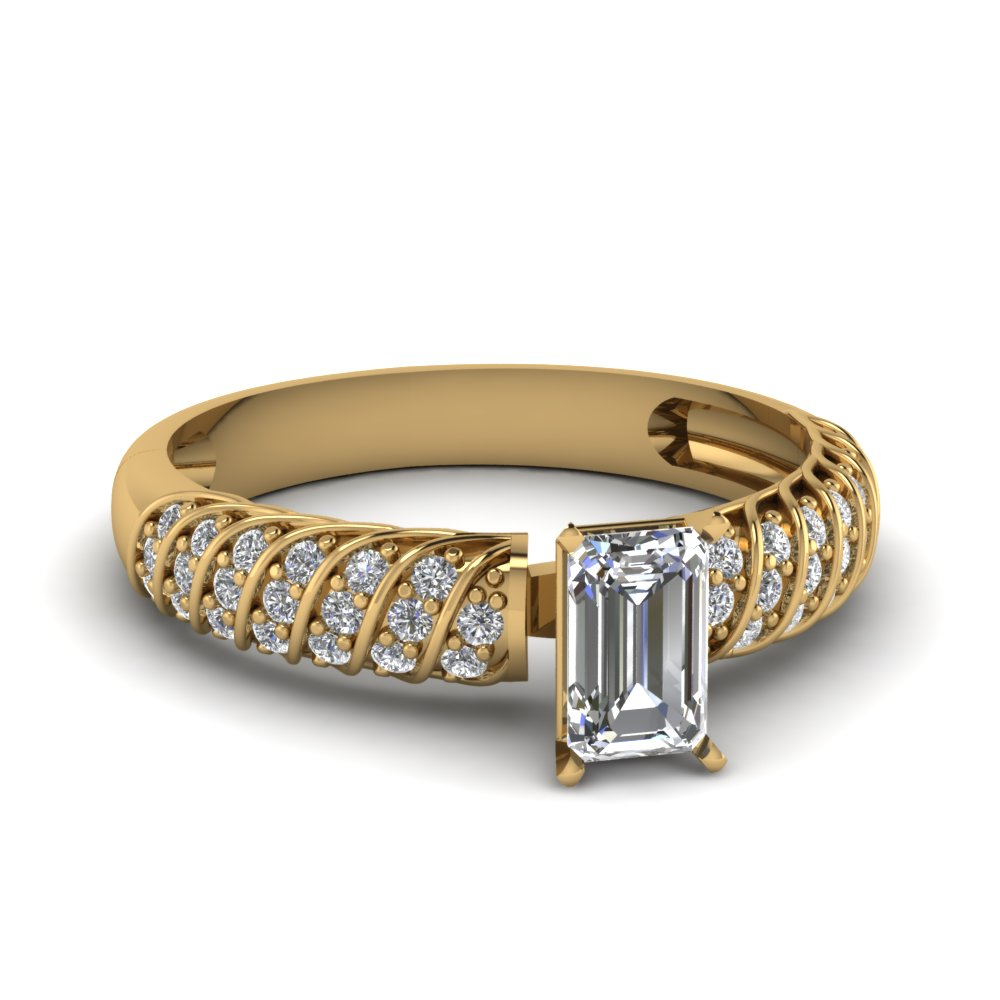 Pave Rope Emerald Cut Diamond Ring