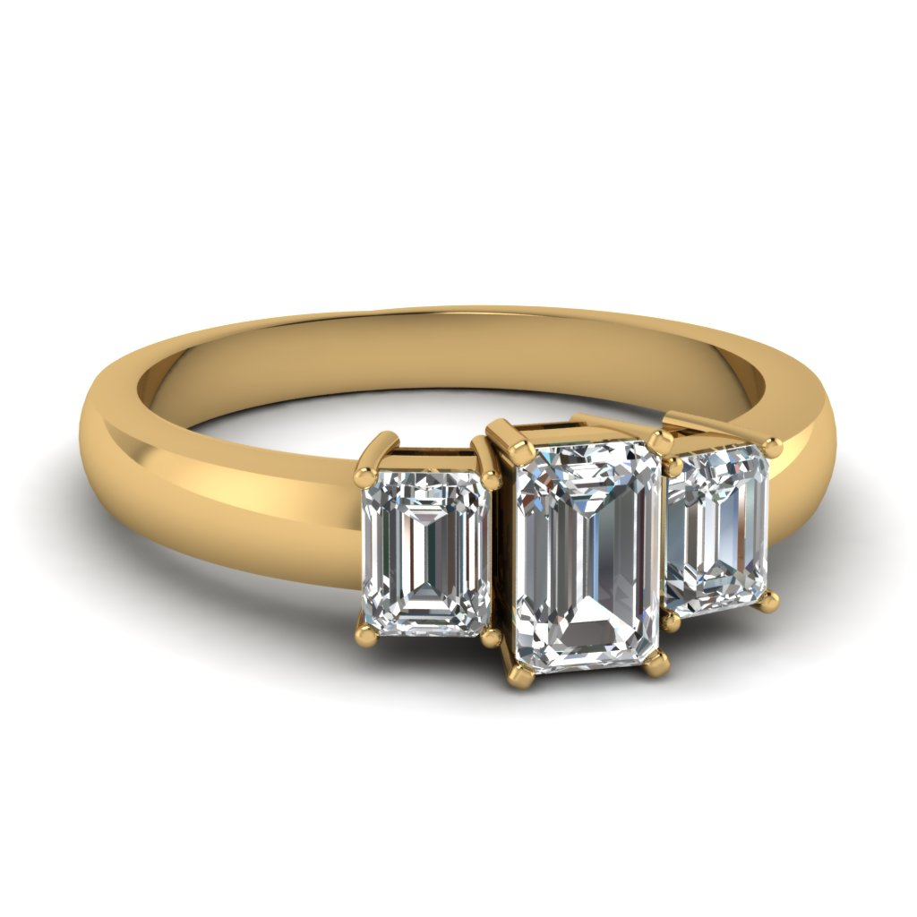 Emerald Cut 3 Stone Anniversary Ring