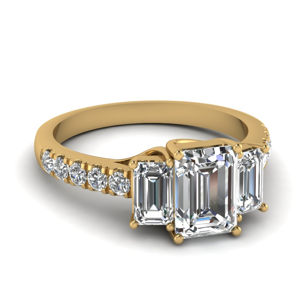 Emerald Cut 3 Stone Diamond Ring