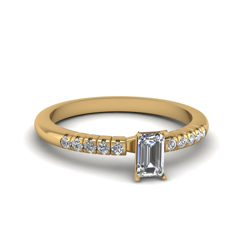 emerald cut  petite french pave diamond engagement ring in FDENS3058EMR NL YG