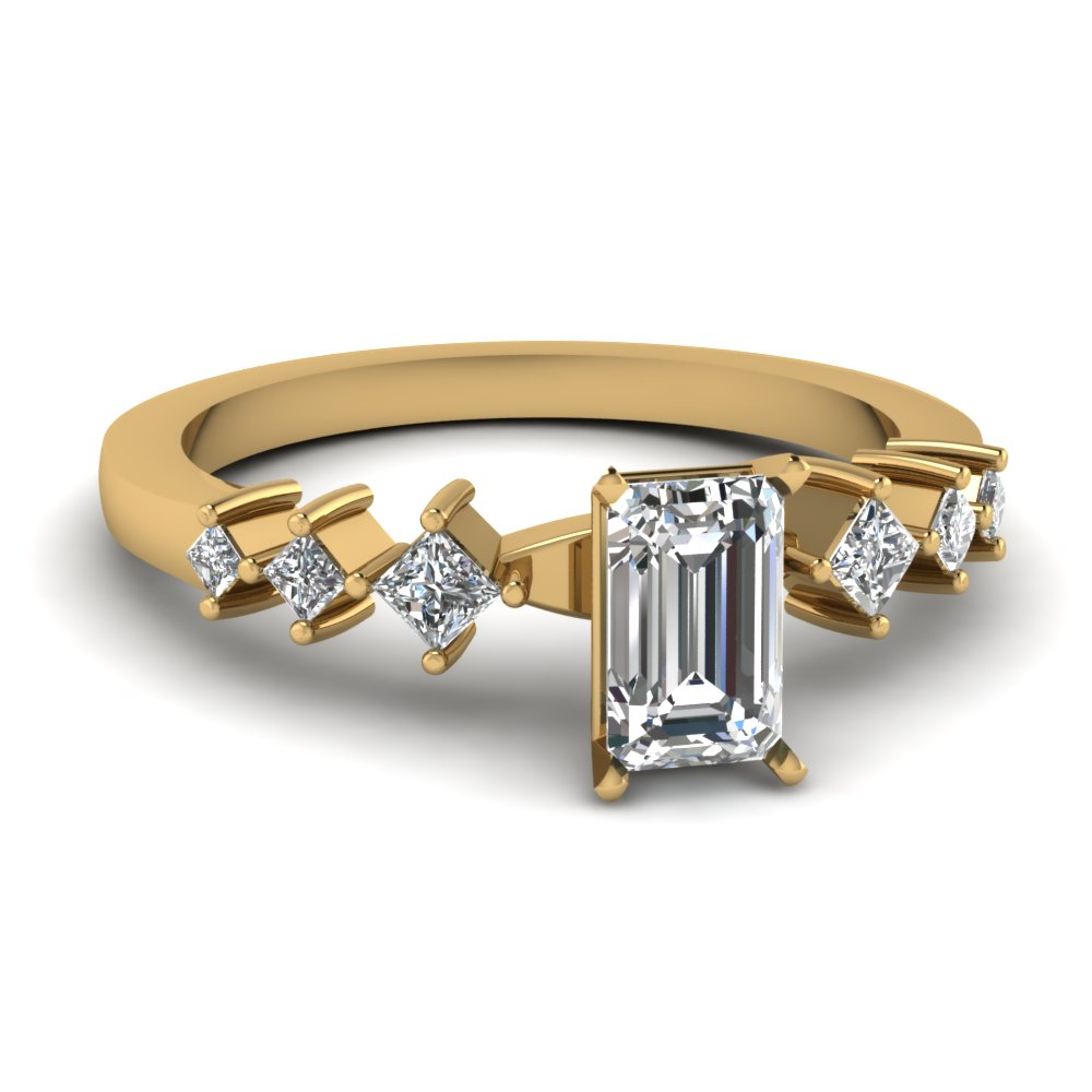 Half Carat Emerald Cut Diamond Engagement Rings